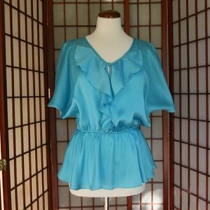 Shiny Robin's Egg Blue Blouse Size Small